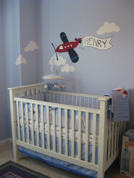 Nice clouds and plane for nursery