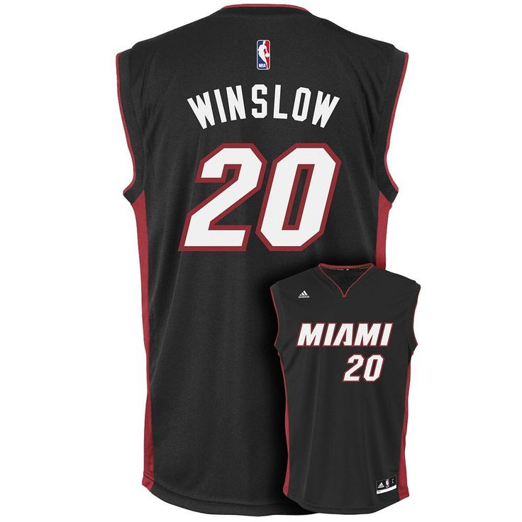 Men's Adidas Miami Heat Justise Winslow Replica Jersey, Size: XL, Black