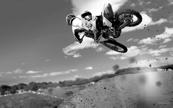 Riding Dirt Bike black and white wallpaper