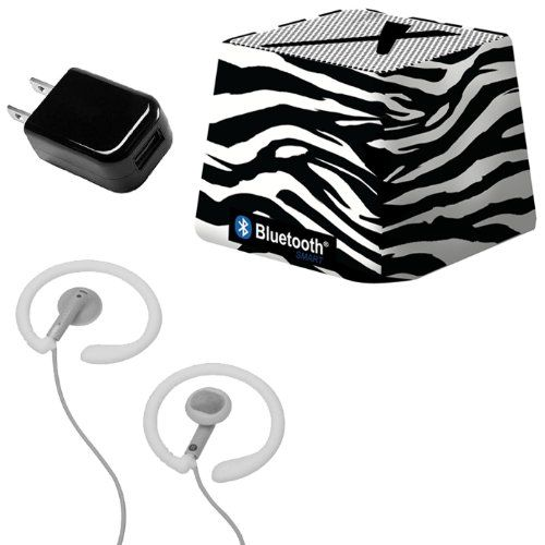 Xit Audio Bluetooth Wireless Mini Portable Speaker System for iPods, iPhones, iPads, Androids, and MP3 Players (Zebra) with Coosh Extra Comfortable Headphones & USB AC Adapter. This kit includes 3 items all brand new with manufacturer's warranty: Xit Audio Wireless Bluetooth Speaker, Coosh Extra Comfortable Headphones (in a beautiful package) & USB AC Adapter. Xit Audio Mini Bluetooth speaker - High quality - please note: only for audio not for cell phone use. Compatibility: All Bluetooth...