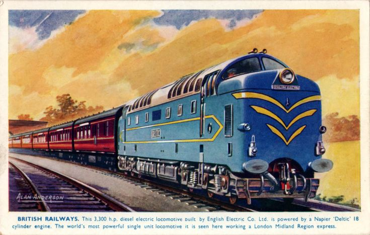 Prototype Deltic illustration by Alan Anderson one of a series of postcards produced by Salmon cards