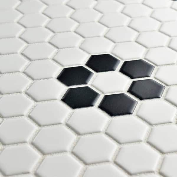 Somertile 10 25x11 75 Inch Victorian Hex White With Flower