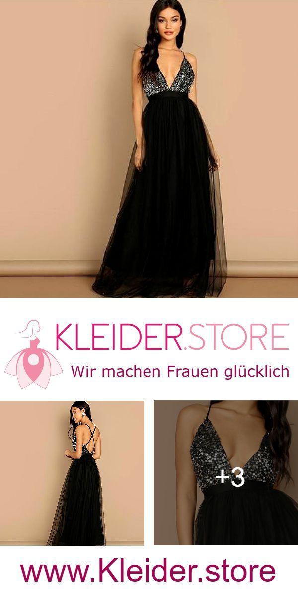 Festliches Peilletten Spitzen Kleid Mit Spaghettitrager Ruckenfrei In Schwarz Kleider Store Festliches Kleid Kleider Schone Kleider Festliche Kleider