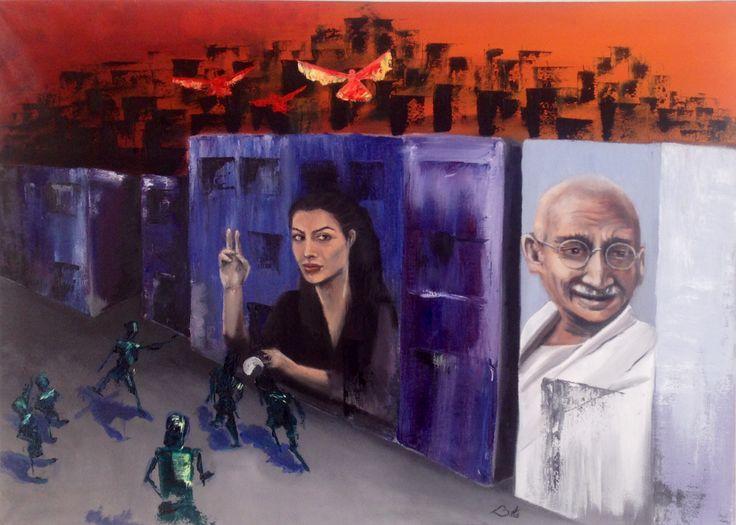 """Street Life I"" ,2014, #artbybitta . Oilpainting on canvas. #contemporary #art #streetart #oilpainting #colours #angelinajolie #ghandi #peace #humanrights #gallery"