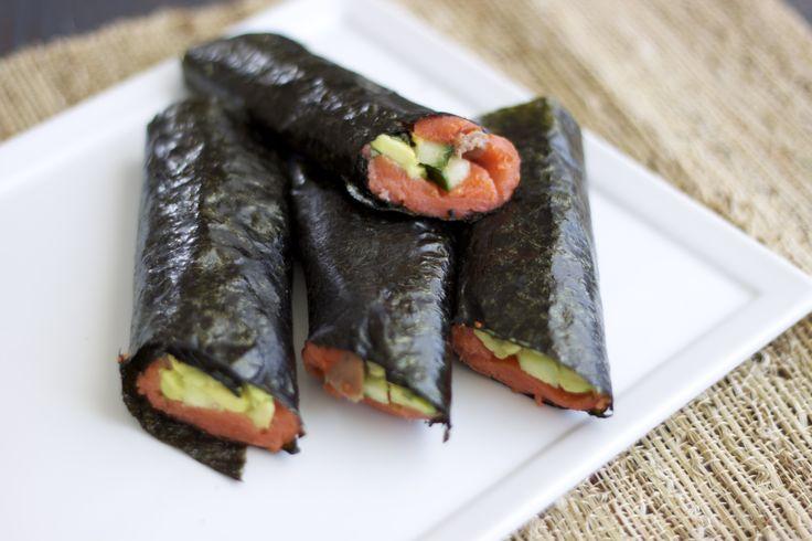 Smoked salmon nori wraps--Paleo sushi
