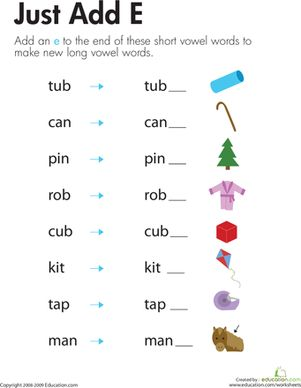 "Silent ""e"" worksheets are important to phonics success. In this silent ""e"" worksheet, kids learn how to make silent ""e"" words out of long vowels sounds."