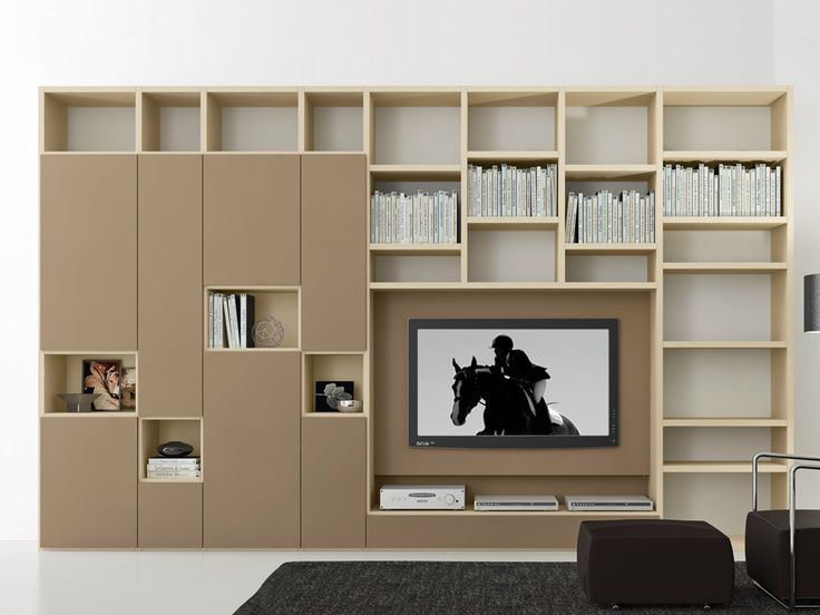Sectional lacquered TV wall system Pari&Dispari - COMP 308 by Presotto Industrie Mobili design Pierangelo Sciuto