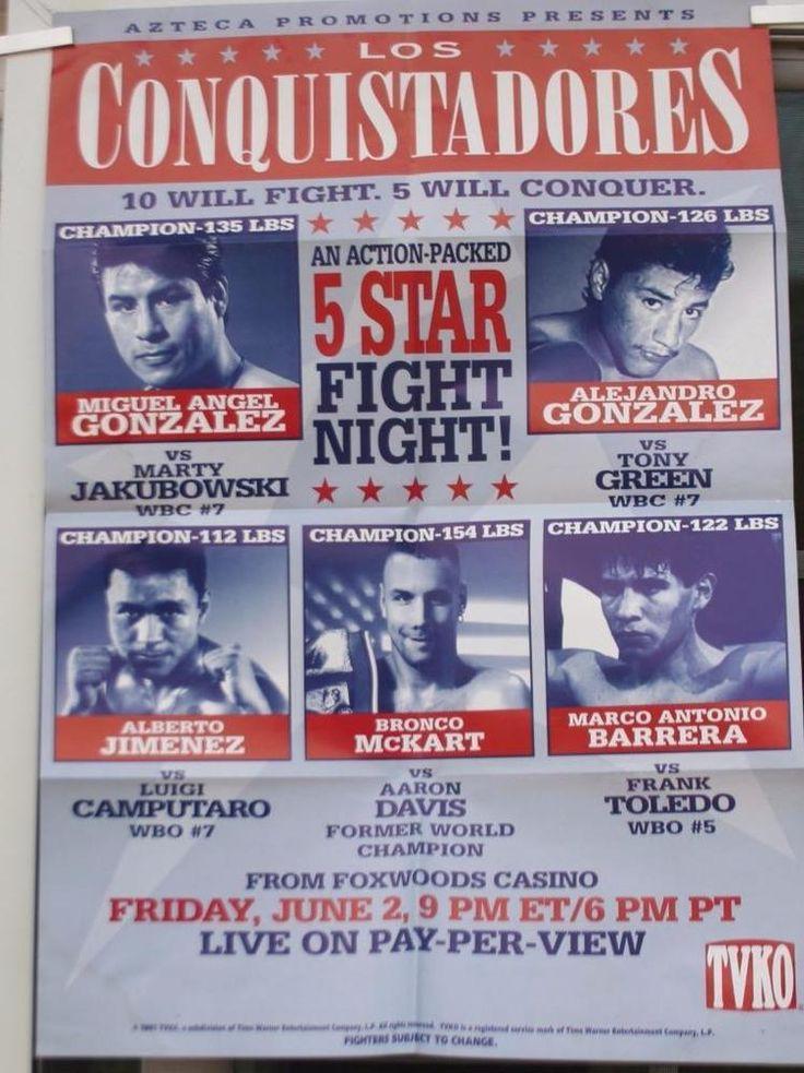 1995 PPV Boxing Poster Los Conquistadores Fight Night Barrera Jimenez 18x26