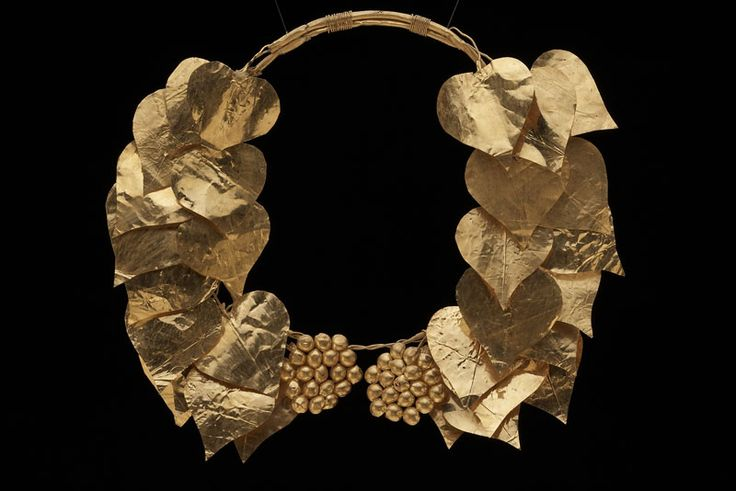 Gold Ivy and Fruit Wreath found in Chalkidike, Macedonia, Greece, late 4th century BC From the era of Philip II of Macedon, Alexander the Great's father. It consists of 30 gold leaves and two sets of...