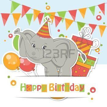 Scheda di buon compleanno! Colorful illustrazione di carino piccolo elefante, mongolfiere, dono e ghirlanda di bandiere. photo