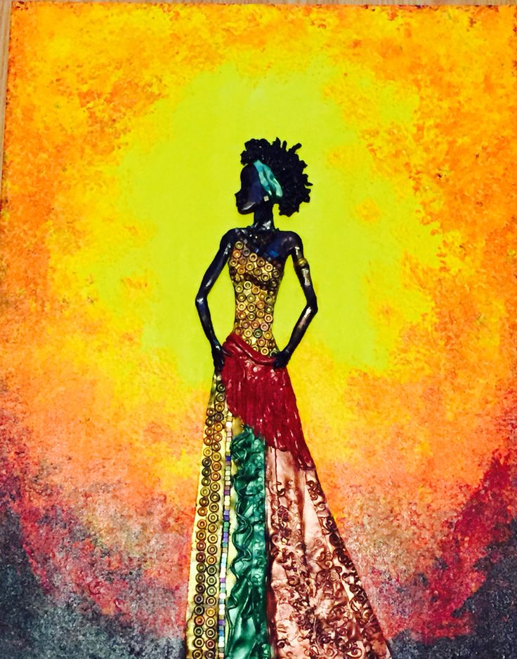 """African woman 24x18"""" polymer clay on canvas"""