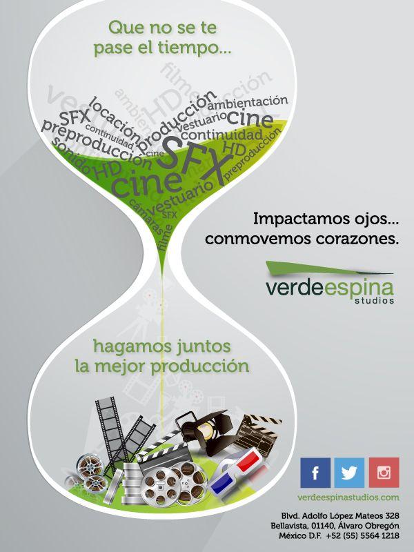 ¡Que no se te pase el tiempo... produce con Verdeespina Studios!!!  #produccion #cine #radio #television #Mexico
