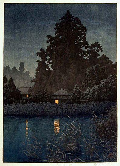 Things that Quicken the Heart: Rain - Japanese Woodcuts - Hasui Kawase - Rain at Ormiya 1930