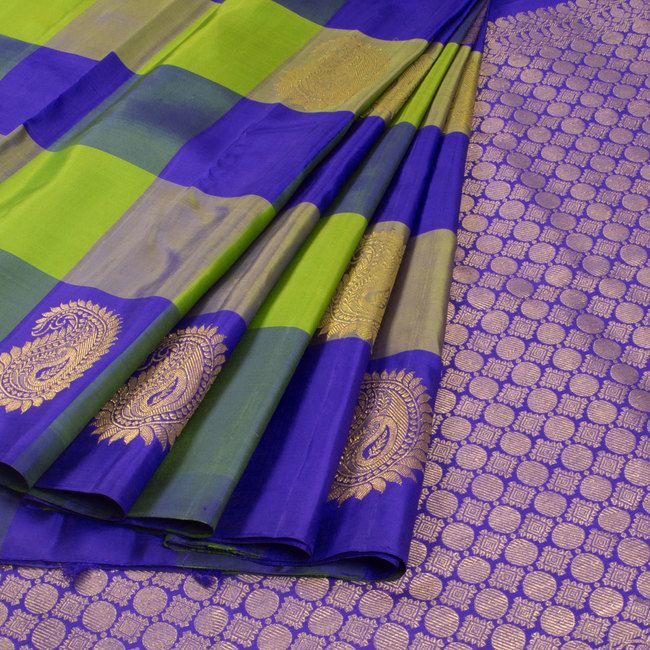 Subhashini Green & Voilet Handwoven Kanjivaram Silk Saree with Checks & Paisley Motifs 10009151 - AVISHYA.COM