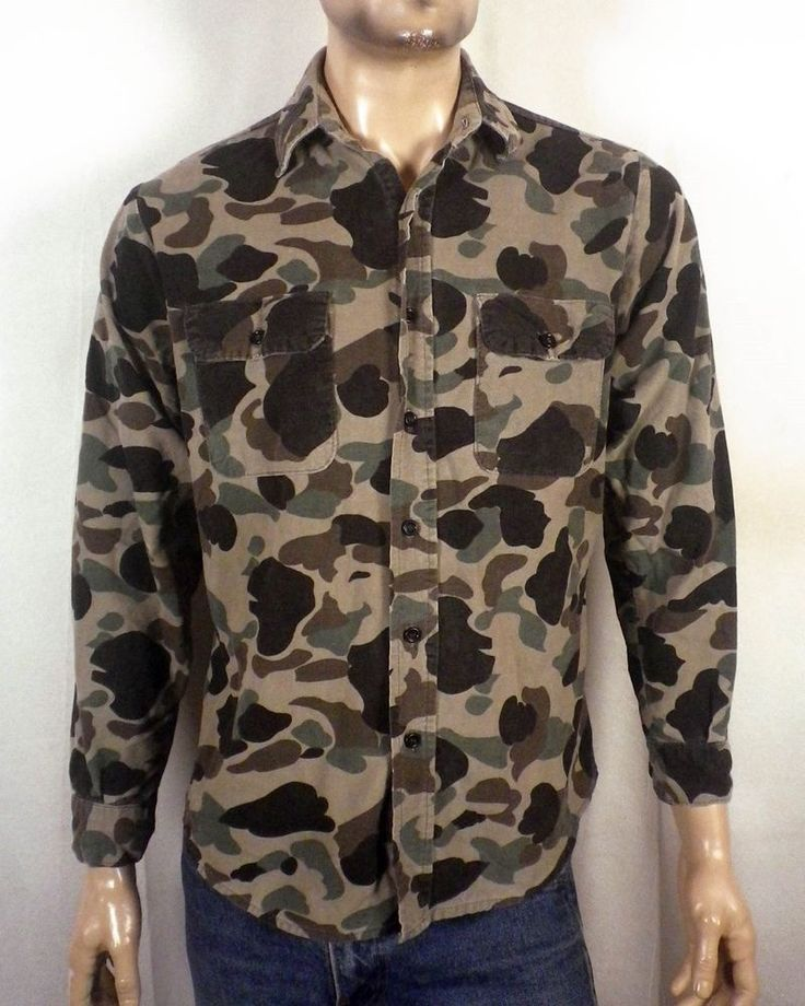 vtg 70s Five Brother USA made Camo Camouflage Chamois Flannel Shirt hunting SZ M