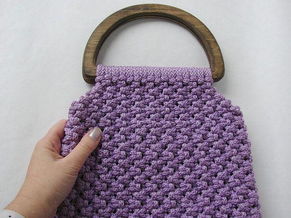 Vintage macrame handbag. Purple macrame bag. Wooden handle macrame purse. Retro style bag.