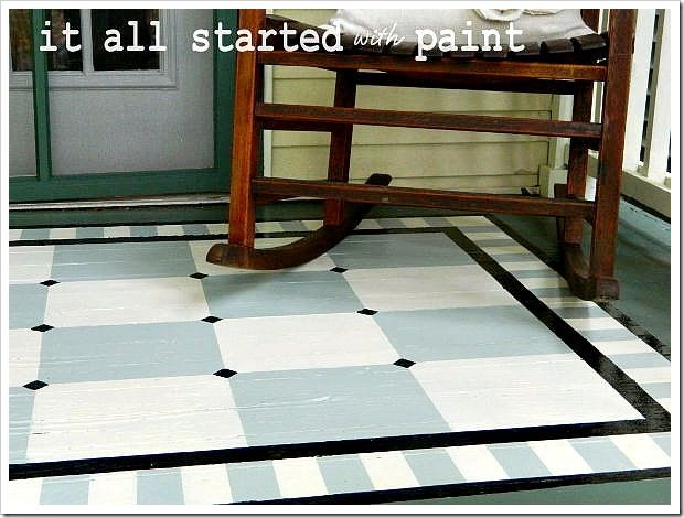 How To Paint A Pattern On Porch. Painted Porch Rug Project Including Full  Tutorial With Pictures On How To Paint Rug On Porch.