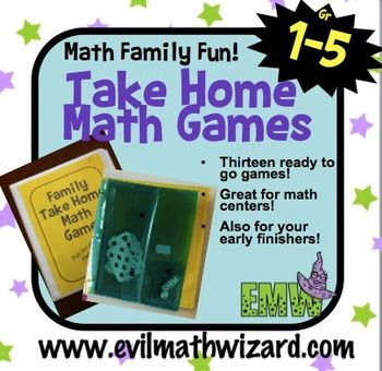 MATH NIGHT IDEA...Math Games to Take Home for Families ($5)