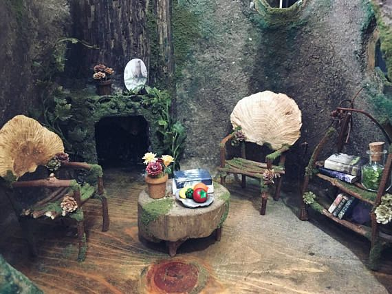Awesome Faery House With Furniture   Fairy House   Handmade By Thefaeryforest