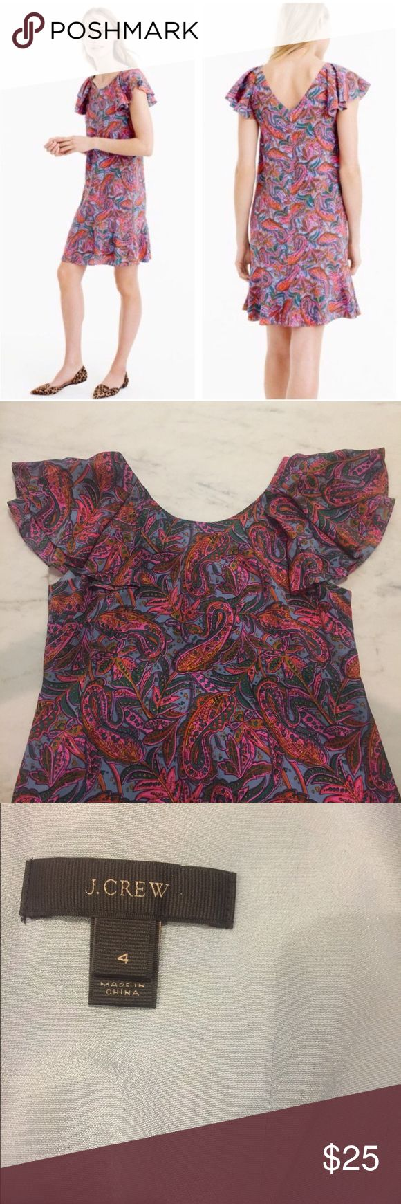 [J. Crew] 100% Silk Multicolor Paisley Dress Silk dress from J. Crew Fall 2016 collection. Style F4349. It's in perfect condition! Perfect for spring to wear to a wedding, party, or date night! J. Crew Dresses Mini