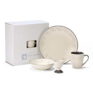 Rabbit Crockery Set X 4 Piece Set, in a Neutral Color. Plate,bowl,cup & Egg Cup