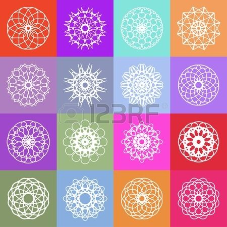Color ornamental background with squares. Vector spirographs