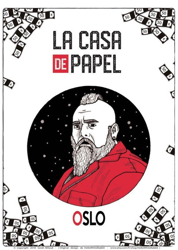 Oslo Poster Tv Show Money Heist La Casa De Papel Oslo Character Oslo Illustration Art Poster Card Decoration Gift Idea A6 Oslo Ink Artwork Poster Art