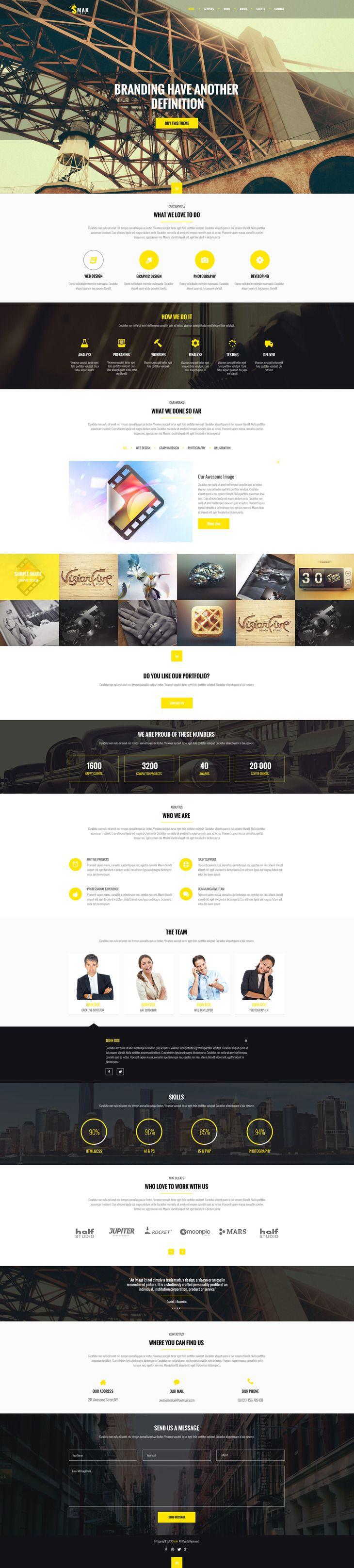 """Das Web-Template """"Smak"""" beinhaltet das Design für einen farblich modern in schwarz, weiß und gelb angelegten Onepager. (Screenshot: graphberry.com)."""