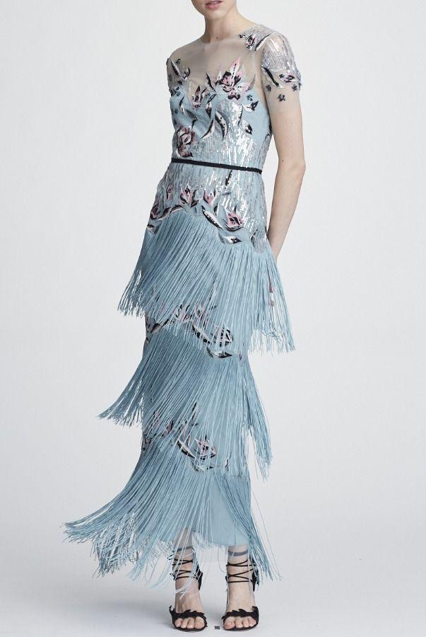 9580102aa670 Marchesa Notte Light Blue Short Sleeve Fringe Evening Gown | Poshare ...