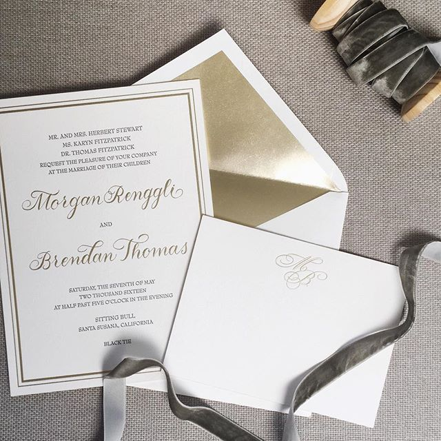 Rich Kids of Beverly Hills' Morgan Stewart and Brendan Fitzpatrick's wedding invitations by Heirloom Paper Co.