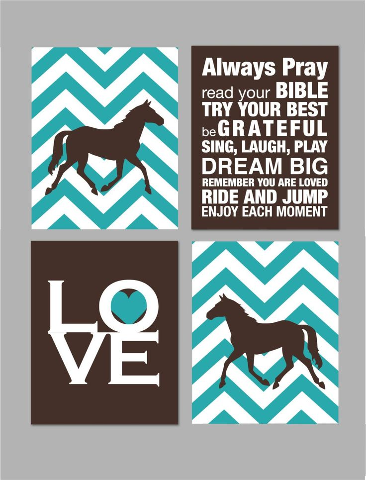 "Horse Room Decor Girls Room Horse Nursery Art Girl Room Decor Horse Silhouette Chevron Nursery Elephant Nursery Set of four 8""x10""s by karimachal on Etsy https://www.etsy.com/listing/185974526/horse-room-decor-girls-room-horse"