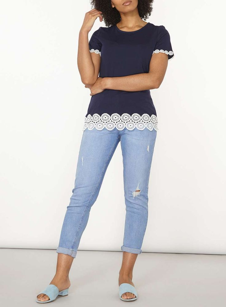 Womens Navy Circle Lace trim tee- Blue