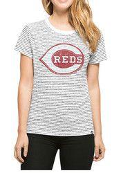 '47 Cincinnati Reds Womens Sparkle Stripe White T-Shirt
