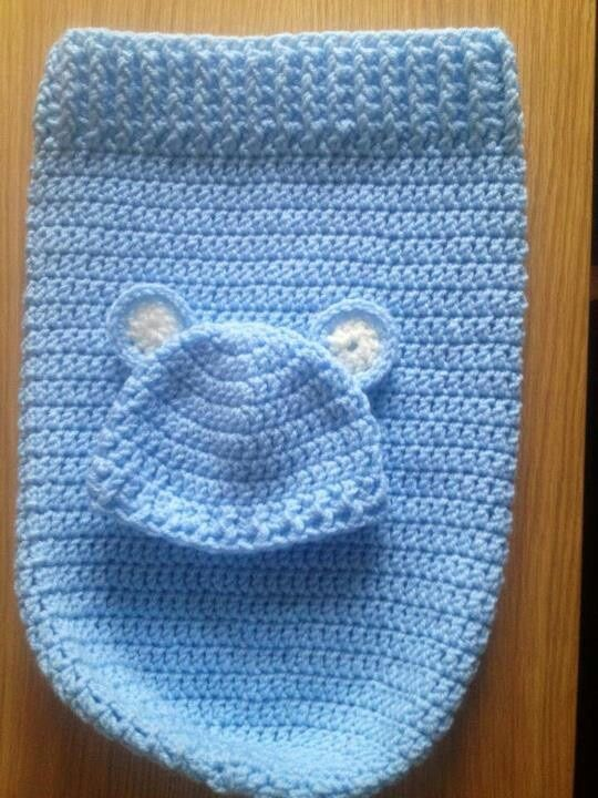 crochet baby cocoon free pattern | Baby cocoon maybe do in a brown and add bear face?