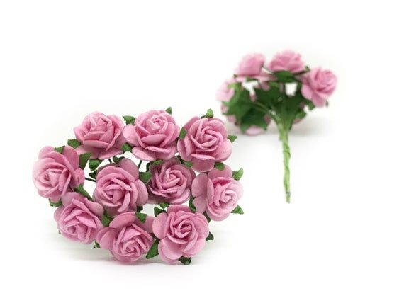 1 2 Pink Paper Flowers Pink Paper Roses Miniature Flowers