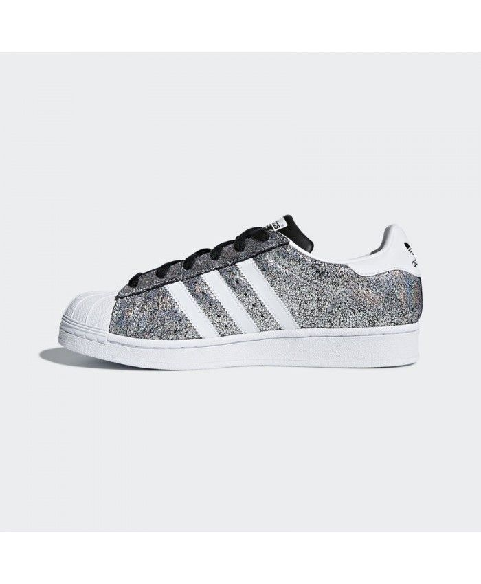 sports shoes 82b39 79792 Adidas Superstar Womens Trainers In White Silver Glitter ...