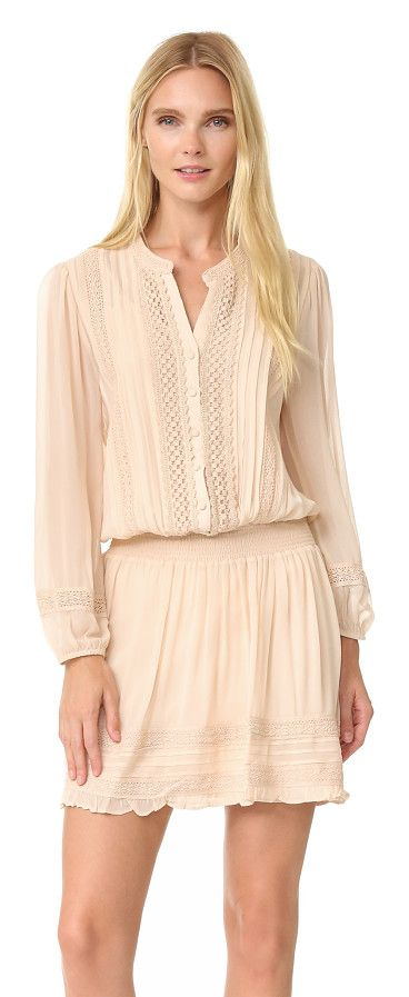 pima dress by Joie. Crocheted lace trim lends weight and texture to this breezy silk Joie dress. Buttons secure the half placket, and smocked elastic refines the waist. Long sleeves with covered elastic cuffs. Lined. Fabric: Chiffon. Shell: 100% silk. Linin... #joie #dresses