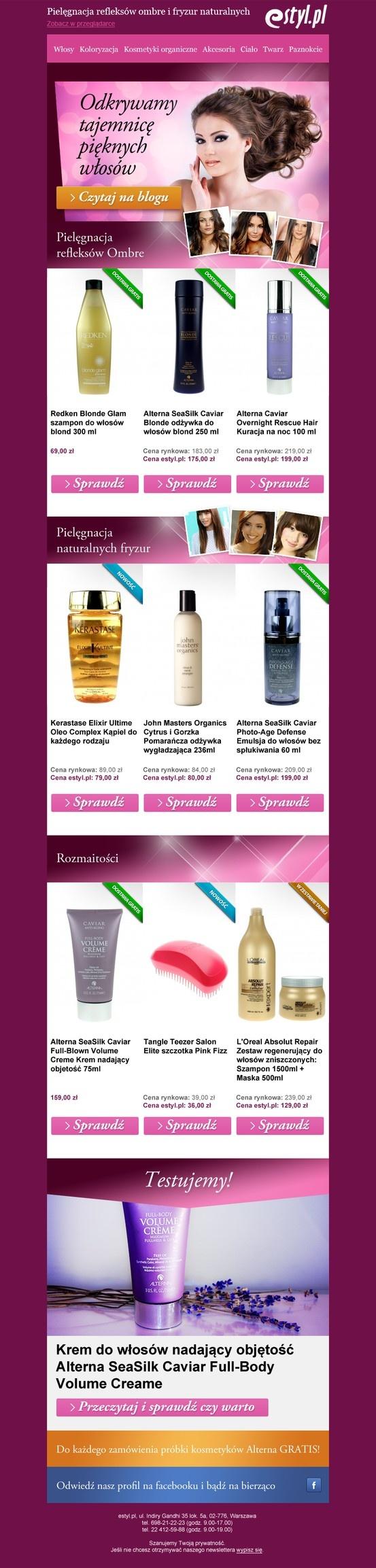 Newsletter dla estyl.pl, sklepu z luksusowymi kosmetykami po przystępnych cenach.