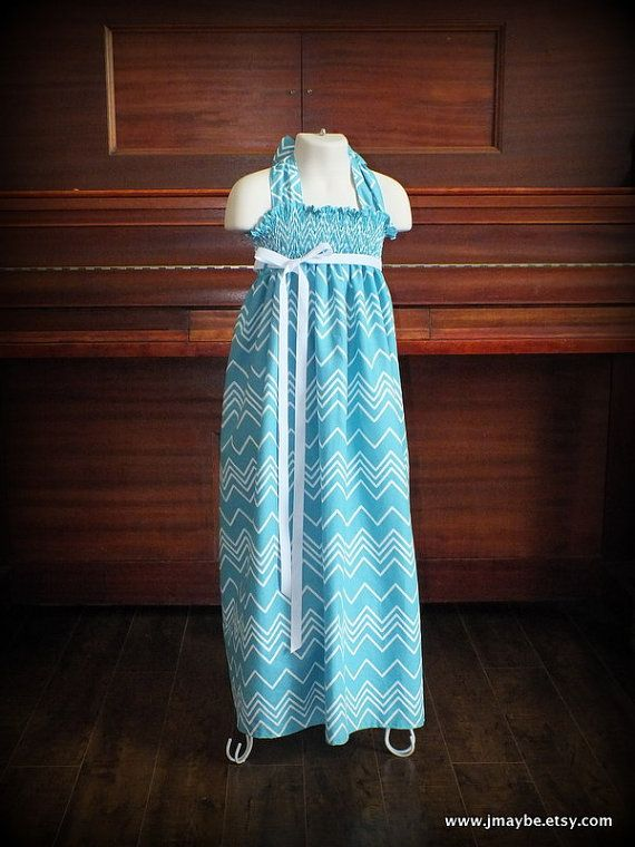 Aqua Chevron Smocked Maxi Dress for girls by Steady As She Goes