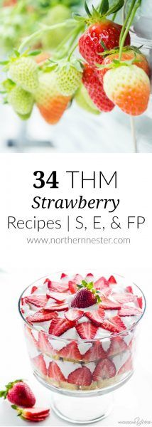 Here are 34 Trim Healthy Mama Strawberry Recipes featuring S, E, and FP desserts, shakes, salads, jams, vinaigrettes, muffins, and more!