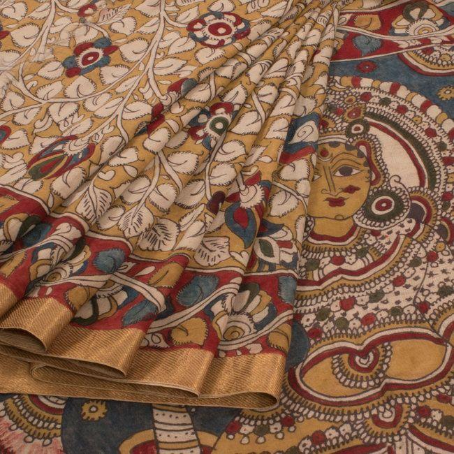 Hand Painted Pen Kalamkari Cotton Saree With Floral Motifs 10009418 - AVISHYA.COM