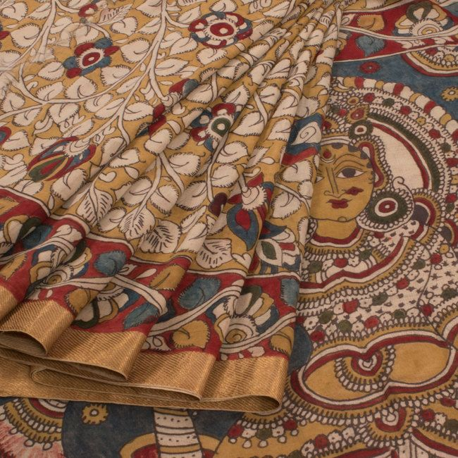 Buy online Hand Painted Pen Kalamkari Cotton Saree With Floral Motifs 10009418