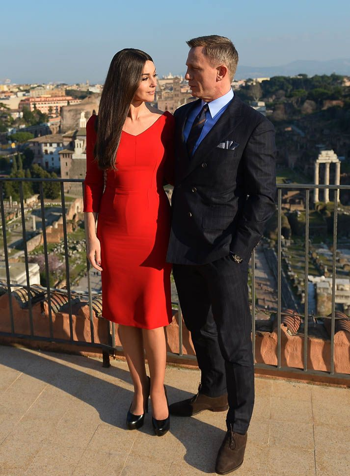 Monica Bellucci and Daniel Craig filming Spectre in Rome. At 50, Bellucci is the oldest Bond girl in the series' history.