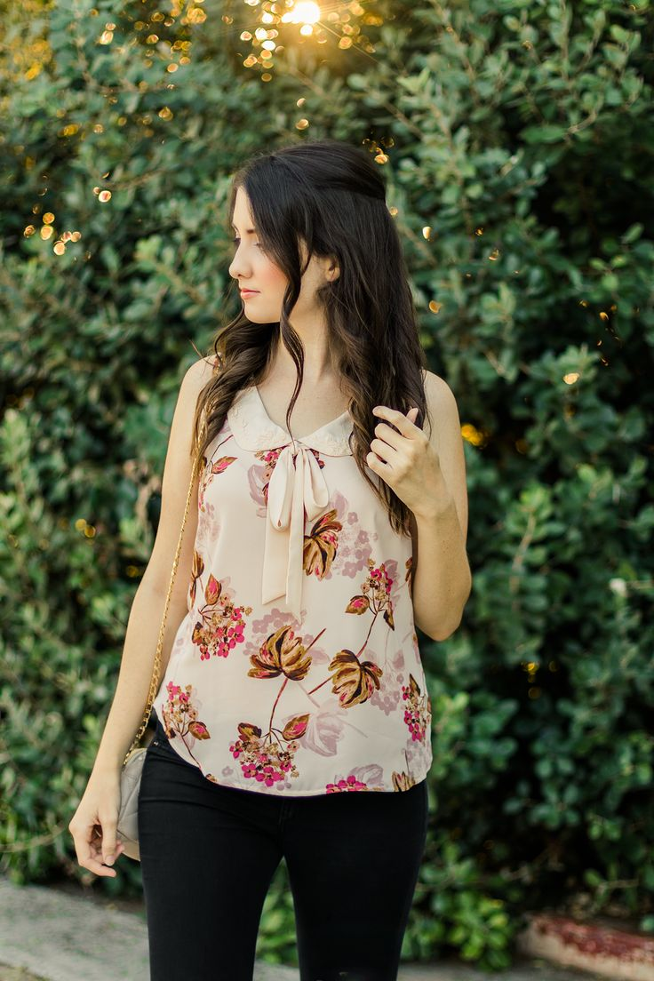 Ruche | LC Lauren Conrad | ModCloth | Retro | Chic | Pink | Fall | Blouse | Bow | Ribbon | Tie Neck | Peter Pan Collar | Summer | Vintage | Floral | Fashion | Cruelty-Free | Outfit
