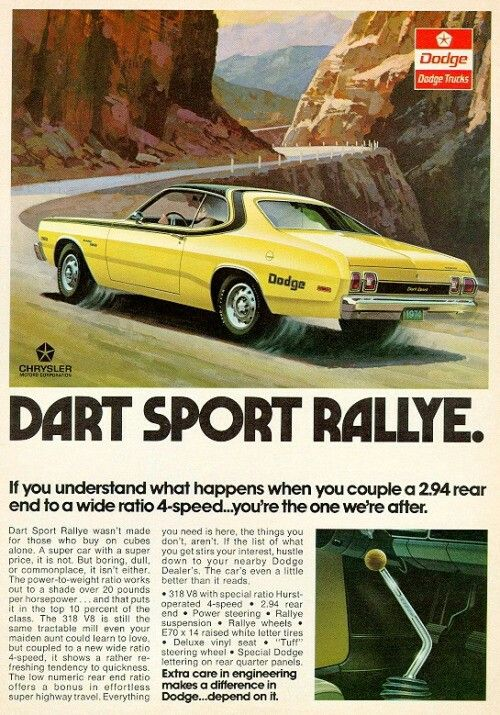 595 best vintage images on pinterest cars antique cars and old this is an original 1973 color print ad for the 1973 dodge dart sport rallye compact sports car condition this year old item is rated very fine fandeluxe Gallery