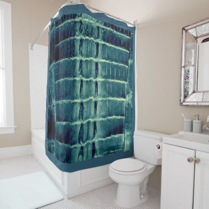 "VINTAGE ""HORNBACK"" ALLIGATOR  TEAL SHOWER CURTAIN - shower curtains home decor custom idea personalize bathroom"
