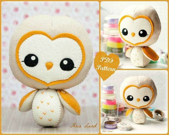 PDF. Barn owl.  Softie Pattern Soft felt Toy Pattern. by Noialand, $7.00