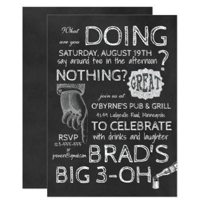 #Retro Chalkboard 30th Birthday Invitation - #birthdayinvitation #birthday #party #invitation #cool #parties #invitations