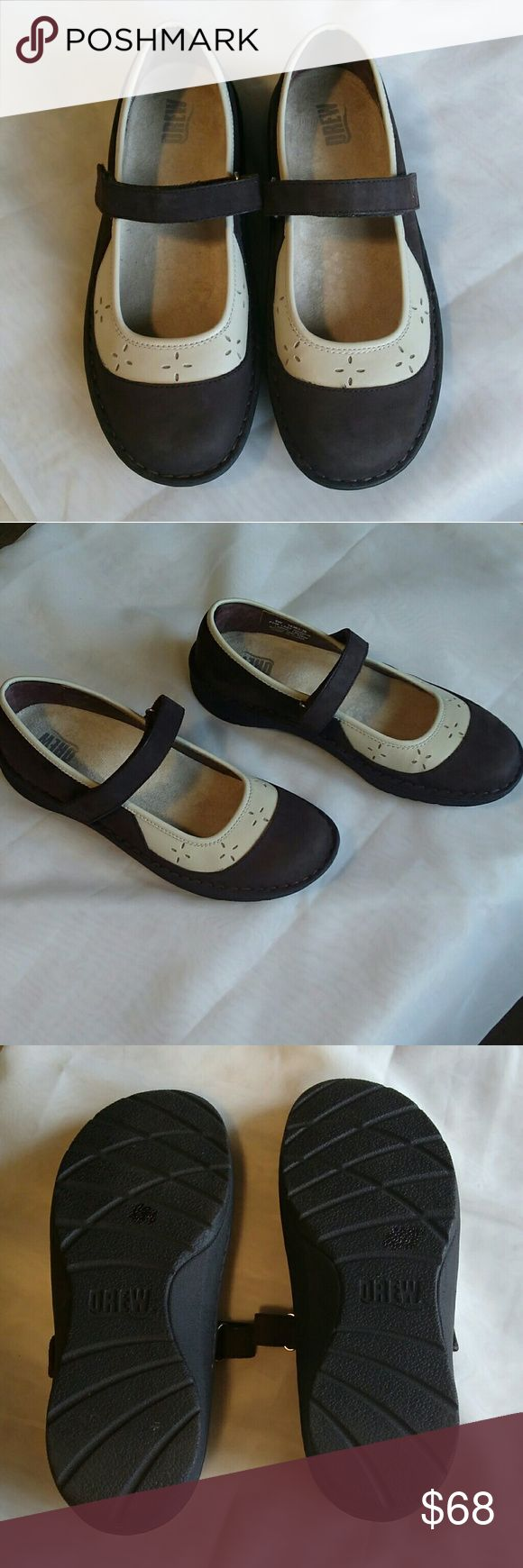 Womens Drew shoes.  NWOT! Women's pretty Mary Jane style orthopedic shoe.  Brown and cream colored with Velcro strap.  These are a size 9 wide.  Leather upper.  Never worn. Drew Shoes Wedges
