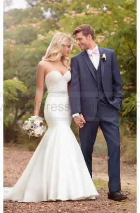 Essense of Australia Classic Trumpet Wedding Dress With Sheer Embroidered Bodice Style D2202 on sale at reasonable prices, buy cheap Essense of Australia Classic Trumpet Wedding Dress With Sheer Embroidered Bodice Style D2202 at www.feeldress.com now!